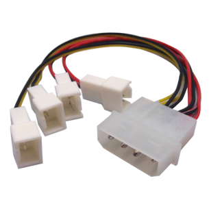 Akasa 4 pin PSU Molex to 4 * 3 pin fans (speed reduction on 2 fans)
