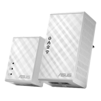ASUS - PL-N12KIT Homeplug kit with Wi-Fi, 500Mbps via mains, white