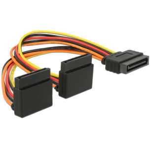 Cable SATA 15 pin power plug with latching function > 2 x SATA 15 pin