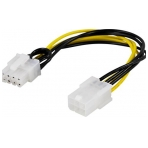 DELTACO adapterkabel, 6-pin PCI-Express till 8-pin PCI-Express, 10 cm