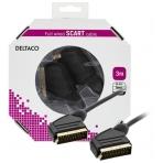 DELTACO SCART-kabel, fullkopplad, ha - ha, 3m, svart