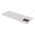 DELTACO tangentbord i silikon, touchpad, IP68, 105 + 12 media, vit