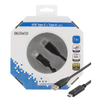 DELTACO USB 2.0-kabel, 1m, Typ C - Typ A hane, PD profil 1, svart