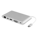 DELTACO USB-C dockningsstation, USB-C ho, HDMI ho, 2xUSB-A ho, silver