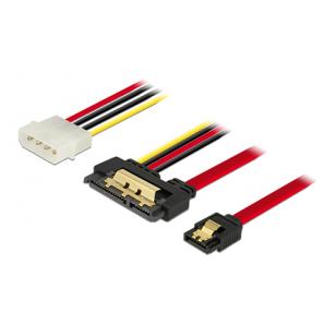 Delock Cable SATA 6 Gb/s 7 pin receptacle + Molex 4 pin power plug > S
