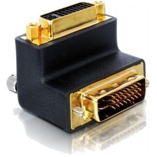 DeLOCK DVI-adapter, Dual Link DVI-D ha-ho, vinklad, guldpl, svart