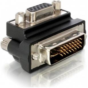 DeLOCK DVI adapter DVI-A - VGA, ha - ho, vinklad, svart