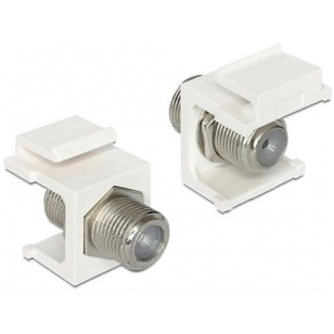 DeLOCK Keystone modul, F-kontakt ho - F-kontakt ho, 75 Ohm, vit