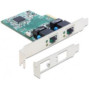 DeLOCK nätverkskort, PCI-Express x1, GBLAN, 2x RJ45