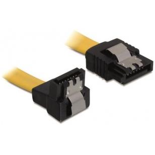 DeLOCK SATA-kabel, 6Gb/s, låsclip, vinklad(nedåt)-rak, 0,5m, gul