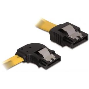 DeLOCK SATA-kabel med lås-clips, vinklad-rak, 0,5m, gul/svart