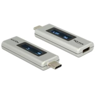 DELOCK USB Type-C PD adapter, OLED-skärm för spänning och strömstyrka,
