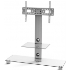 EPZI TV-bänk, glas/aluminium, max 50kg, silver