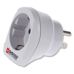 SKROSS Europe to USA grounded travel adapter, 15A, 110-125V, white
