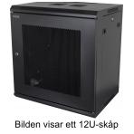 """TOTEN, 19"""" väggskåp, 15U, 600x450, svart"""
