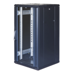 """TOTEN System G, 19"""" golvskåp, 22U, 600x600, glasdörr fram, perforerad"""