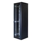 """TOTEN System G, 19"""" golvskåp, 42U, 600x600, glasdörr fram, metalldörr"""