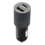 USB Typ-C Billaddare, 18W, Dubbla portar, QC 3.0, Runt metallhölje, Sv